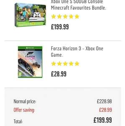 Xbox One S 500GB Console Minecraft & Forza Horizon 3 £199.99 @ Argos