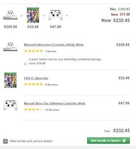 Xbox One S Console, 500GB, White + FIFA 17 + Wireless Controller White with 2 years guarantee £232.45 @ John Lewis