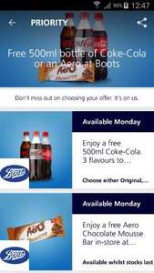 Free Coke or Aero chocolate Mousse at Boots (o2 priority customers only) - starts 27th February