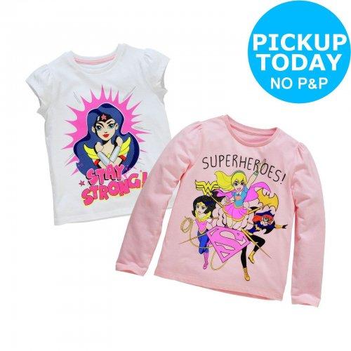 DC Superhero Girls 2 Pack of T-Shirts - 7-8 Years £2.50 @ Argos ebay (Free C+C)