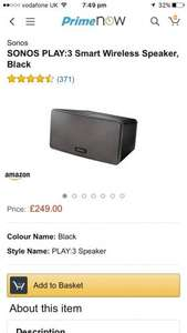 SONOS PLAY:3 Smart Wireless Speaker w/ Prime Now for £249.99