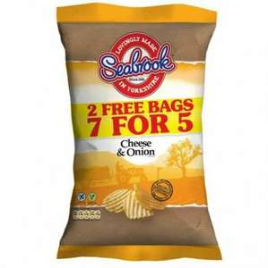 SEABROOK CHEESE & ONION CRISPS 7 FOR 5 PK 50p POUNDSTRETCHER