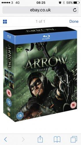 Arrow season 1-4 blu ray box set at ebay / theentertainmentstore for £29.99