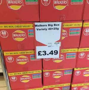 Walkers variety crisps 40*25g for £3.49 in Heron