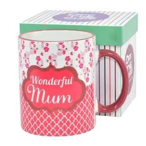 """wonderful mum"" mug in a gift box for £3.60 delivered @ Internet Gift Store"