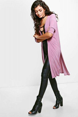 Hannah Split Side Duster Coat £4.00 + £1.99 delivery @ boohoo