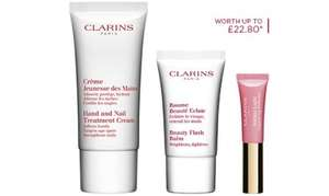Free beauty kit trio worth £22.80 with any order, plus the usual 3 free samples at Clarins