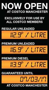 Costco Manchester Trafford Fuel Station now open. Premium Diesel 113.9p/L | Unleaded 112.9p/L or 116.9p/L for Premium Unleaded