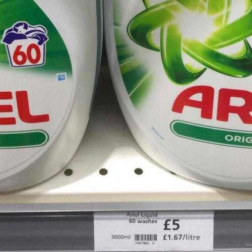 Ariel liquid 60 washes £5 at Waitrose in store. Also fairy liquid 60 £5