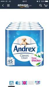 Andrex Classic Clean Toilet Roll Tissue Paper - Pack of 45 Rolls £16.88 @ Amazon (Prime Exclusive)