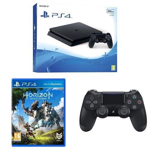 Sony PlayStation 4 Slim Black 500GB Console + DS4 + Horizon Zero Dawn + 3 months PS Plus - £199.99 @ Amazon