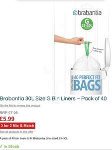 All Brabantia bin liners – 3 for 2 and use study10 to get 10% discount also at robertdyas