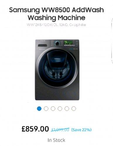 Was £1099 Samsung WW8500 AddWash Washing Machine  WW12K8412OX Front-loading 12 kg £759 @ AO