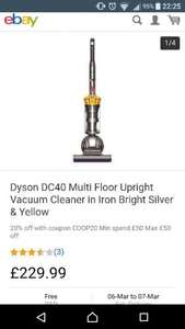 Dyson Dc40 multi floor upright vacuum cleaner £184 with coupon COOP20 @ Co-op eBay outlet