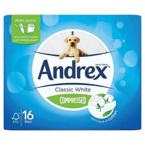 Andrex Classic White Compressed Toilet Roll Tissue Paper - 16 Rolls for £3.75 @ Waitrose (Nottingham)