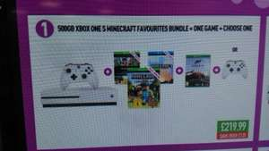 Xbox One S Console 500GB with Minecraft Bundle, Forza 5 and a Wireless Controller OR Forza Horizons 3 for £219.99 @ Game