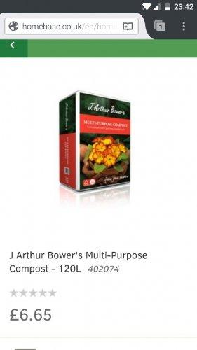 J Arthur Bower's Multi-Purpose Compost - 120L £6.65 @ Homebase