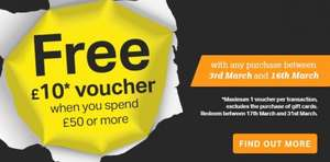 Free £10 Voucher When You Spend £50+ @ Halfords between 3rd  - 16th March