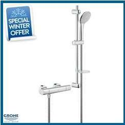 "GROHE Grohtherm 1000 Cosmopolitan Bar Shower 3/4"" c/w Kit, Chrome - £145.50 @ Plumbing For Less"