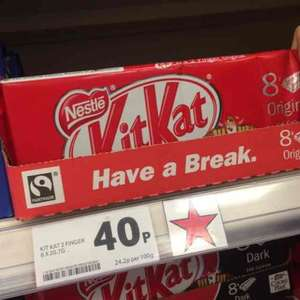 8x2 finger kitkat for 40p at Tesco Extra
