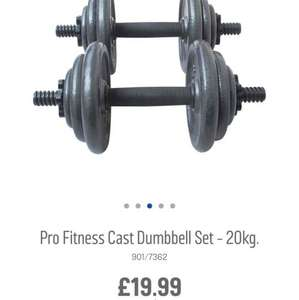 20kg cast dumbell set for £19.99 @ Argos