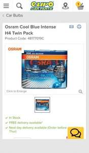 Osram Cool Blue Intense H4 Twin Pack £9.09 at Eurocarparts.