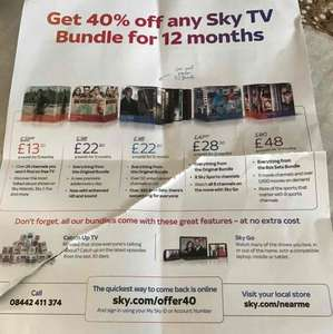 Sky TV 40% off any TV package for 12 months £162 - New customers ** Pls DO NOT offer or request referral codes **