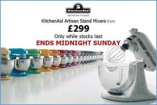 KitchenAid Artisan Stand mixers £299 @ Go-electrical