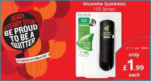 Nicorette quick mist 150 spray bottle £1.99 @ SAVERS instore