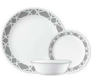 Corelle Modena 12 Piece Dinner Set - Grey, £29.99 With Code HOME25 - Free Click & Collect Or £3.95 Home Delivery @ Argos