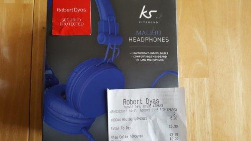 Malibu headphones real bargain £3.99 in store Robert Dyas Yeovil