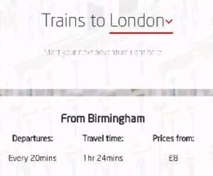 Virgin Trains Sale - Bham to London from  £8