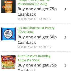 Pukka chicken and mushroom pie for £1 - 25p after cashback/ Aunt Bessie's Apple pie for £1 - 25p after cashback from Morrisons, using Topcashback
