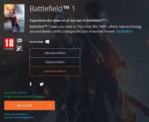 BATTLEFIELD 1 (PC) Standard Edition - Origin - £22.49 With free trial Origin Access Sub