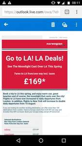 Fly to LA £169 One Way @ Norweigan