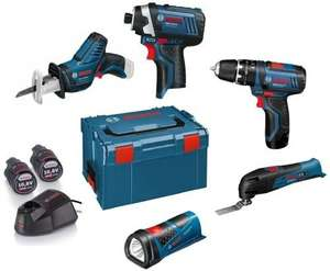 BOSCH 5 piece  POWER TOOL KIT with 3x10.8V-2AH LI-ION BATTERIES £280.85 at powertoolsuk