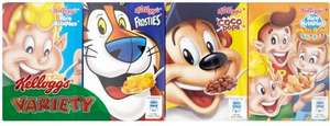 Kellogg's Cereal Variety Pack (8 per pack - 192g) was £2.00 now £1.00 @ Tesco