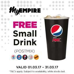 Free Small Postmix Drink @ Empire Cinemas
