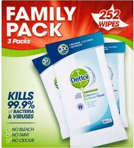 Dettol Anti Bacterial Cleansing Wipes (252 per pack) was £10.00 now £5.00 @ Ocado