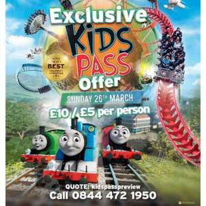 Drayton Manor Kids pass exclusive day On Sunday 26th March  for £10 with Kids Pass