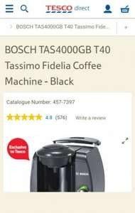 Buy BOSCH TAS4000GB T40 Tassimo Fidelia Coffee Machine - Black from our Pod & Capsule Machines range £49.99 - Tesco
