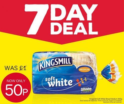 Iceland 7 Day Deal Kingsmill Soft White Medium/Thick 800g  50p