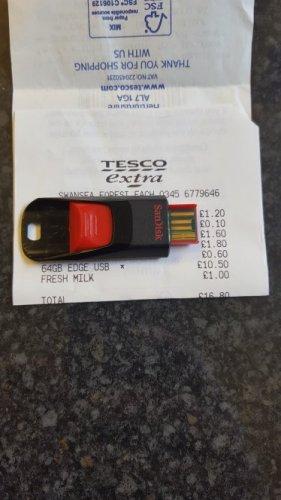 64gb SanDisk memory stick 2.0 £10.50 Tesco instore
