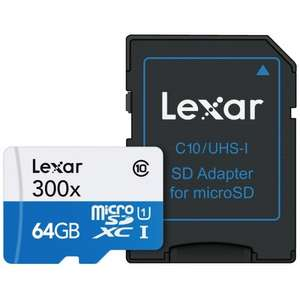 Lexar 64GB High Performance Micro SDXC UHS-I U1 Card 300x - 45MB/s £15 delivered @ MyMemory using code