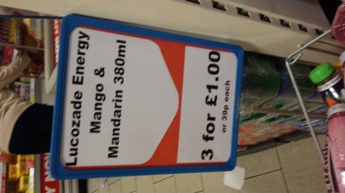 Lucozade mango & mandarin 39p each 3 for £1 heron foods