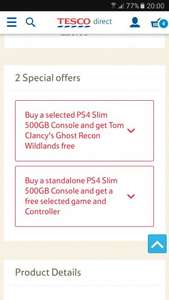 PS4 Slim 500GB with Horizon Zero Dawn & Ghost Recon Wildlands & Additional controller £229.99 @ Tesco Direct