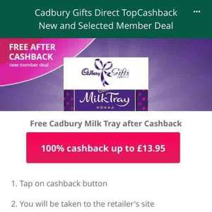 milk tray for new members topcashback - £13.95 spend required via cadbury Gifts Direct