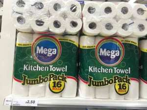16 kitchen rolls for £2.50 instore at Tesco