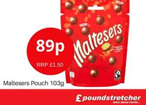 Maltesers pouch 103g rrp £1.50 just 89p @ poundstretcher