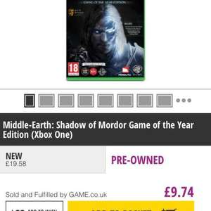 Xbox one - Shadow of Mordor GOTY pre-owned £9.74 @ Game